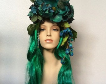 "Glamorous ""Teal Goddess"" Wig Headpiece for Cosplay Masquerade Halloween Costume Mermaid Fairy Fae Goddess"