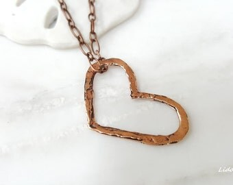 Copper Heart Pendant with 18-Inch or 30-Inch Copper Chain Necklace