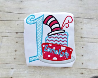 Girls Dr. Suess Birthday shirt,Toddlers Cat in the Hat Birthday,with Numbers,Cats Hat,Cake,Monogrammed, Personalized, Embroidered, Appliqued