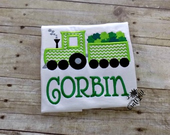 Boys St. Patrick's Day Shirt, St. Patricks Day for Boys, Toddlers St. Patricks Day, Infants Train Shirt, Shamrocks, Personalized,Embroidered
