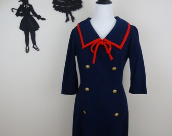Vintage 1960's Wool Wiggle Dress / 60s Sailor Day Dress M  tr