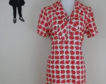 Vintage 1950's Floral Dress / 50s Pink Roses Day Dress L/XL
