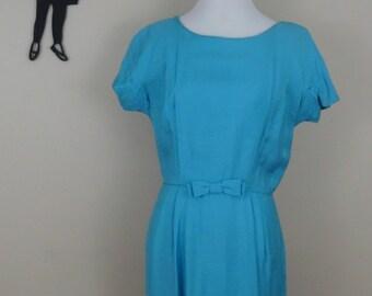 Vintage 1950's Day Dress / 50s Blue Bow Dress M  ss