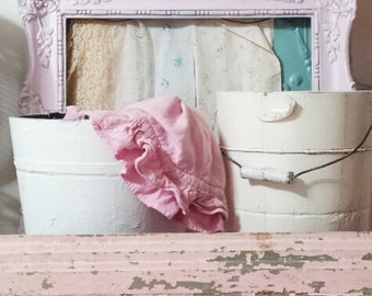 Vintage Shabby Chic Pink Chippy Wooden Header Architectural Salvage Cottage Decor