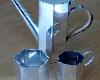 Small Art Deco Silver Plated Hexagonal Espresso / Coffee Set