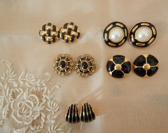 Vintage Clip On Earrings Lot of 5 Pairs Black and Gold Tone Faux Pearl