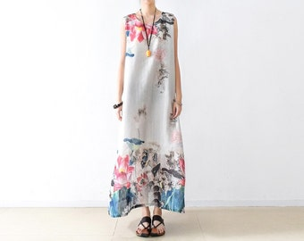 Womens Folk Loose Fitting Ink Printed Floral Sleeveless Chiffon Jumper Dresses, Womens Summer Chiffon Silk Casual Dresses With Pockets