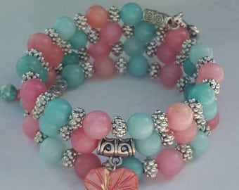 Teal/Coral Memory Wire Cuff bracelet