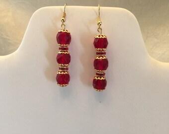 Garnet Red Crystal Beaded Gold Tone Pierced Earrings