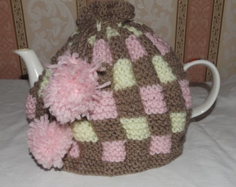 Battenburgh Cake Tea Cosy, Hand knitted cake tea cozy, Ideal Thank You, Housewarming, Teachers, Mother's Day, Christmas, Stocking Gifts