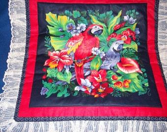 Red & Blue Parrot Pillow Top