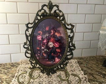 Italian ornate rococo metal frame with floral print
