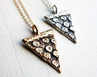 Hand Carved Pepperoni Pizza Slice Necklace in 18k gold plated finish