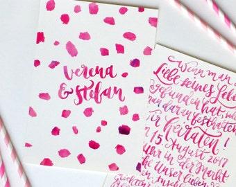 Hochzeitseinladung - Handlettering komplett mit Pinsel und Aquarellfarben / DIN A5