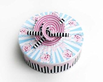 Pastel rosa blaue Geburtstagstorte Schachtel zum selbermachen, DIY Bastelbogen, Geschenk Verpackung, 2 pdf Dateien