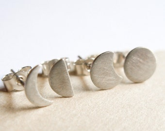 Moon Phase Studs, Silver Stud Earrings, Silver post earrings, mismatched earrings set