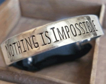 Fitbit Flex bracelet Nothing Is Impossible Silver inspirational womans mens small medium