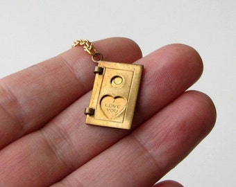 I love you necklace . vintage brass book or door locket . folding necklace . Valentines day jewelry