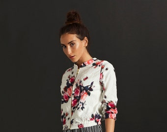 Sale - Floral Bomber, Cotton jacket, Bomber jacket for women, Floral bomber jacket, Lightweight bomber jacket, Zip up jacket, Women's outerw