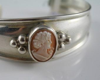 Vintage sterling silver signed, cuff bracelet genuine carved Cameo centre, signed ESPO SIG Joseph esposito