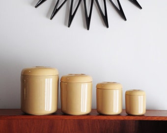 Mid Century Canisters/ design by Robert Steven Witkoff/ Fine Stone Ware Japan/ Beige