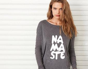 Namaste, Long Sleeve T Shirt, Savasana, Slouchy, Wide Neck, Off the shoulder, Yoga, Pilates, Dark Grey Heather/White T Shirt by Sloganfit