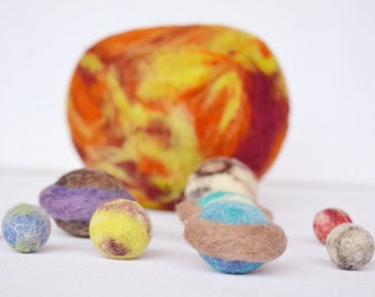 Nesting Solar System, Nesting Toy, Needle Felted Planets and The Sun, Wool Toys, Space, Science, Solar System Toy, Wooly Topic