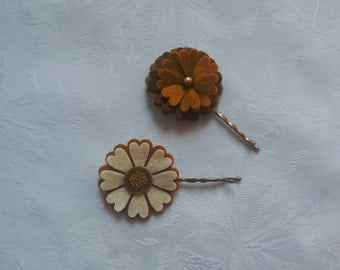 Hair flowers, felt flowers, autumn colours, brown, cream, gold, hair accessories, bobby pins, hand stitched