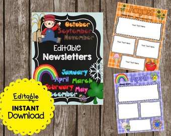50% OFF SALE - Classroom Newsletters - Monthly - Editable - Color & BW - Instant Download - Printable