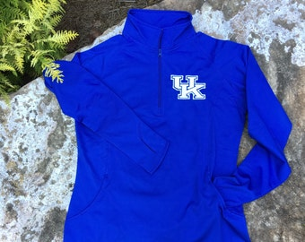University of Kentucky Pullover – UofK Pullover – Quarter Zip – Half Zip – With Thumb Holes and Hidden Front Pocket - Sport Tek - Royal Blue