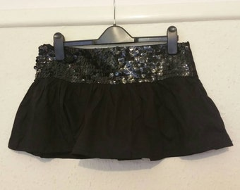 Black Short Mini Skirt - RaRa - Rave Skirt - Party / Club - Sequin Micro Skirt - Small