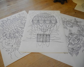 hot air ballon colouring page