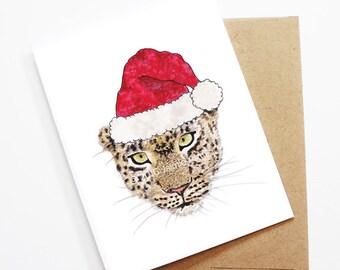 Christmas Card - Cheetah, Cute Christmas Card, Animal Christmas Card, Holiday Card, Xmas Card, Seasonal Card, Christmas Card Set