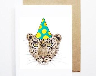 Birthday Card - Cheetah, Animal Birthday, Animal Card, Cute Greeting Card, Kids Birthday Card, Baby Birthday Card, Blank Cheetah Card