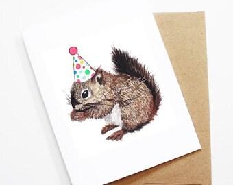 Birthday Card - Squirrel, Animal Birthday, Animal Card, Cute Greeting Card, Kids Birthday Card, Baby Birthday Card, Blank Squirrel Card