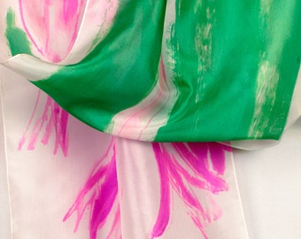 Silk scarf/ Hot Pink Tulips scarf/ Hand painted silk scarf/ Floral shawl/ bright silk scarf/ Abstract painting on silk by Dimo/