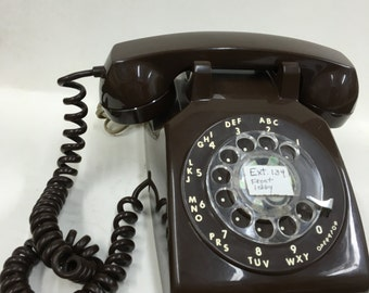 Vintage 1970's Rotary Dial Phone ~ Brown