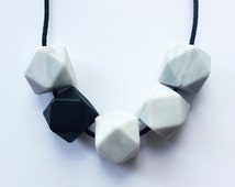 Silicone Teething Necklace | Suzie | Marble and Black
