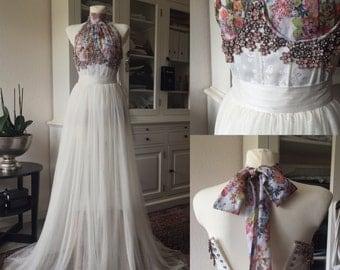Couture wedding dress three-piece silk piece