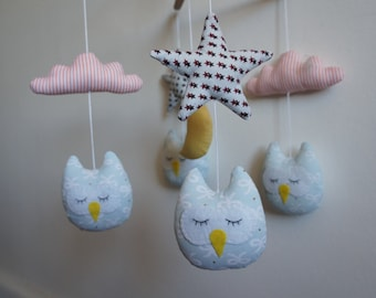 Mobile Star Cloud and moon baby owls