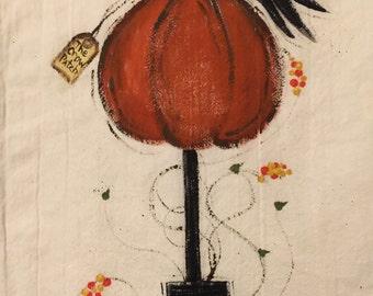 Pumpkin And Crow Dish Towel, Seasonal Dish Towel , Fall Dish Towel, Crow Tea