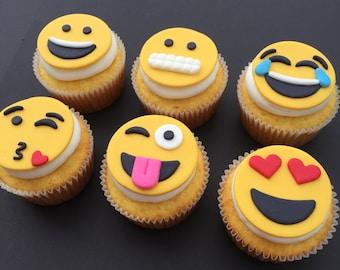 12 Emoji Inspired Cupcake Toppers-Fondant
