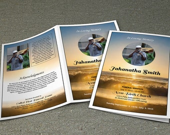 Funeral Program Template | Obituary Template | Photoshop & MS Word Template | Instant Download | FP-177