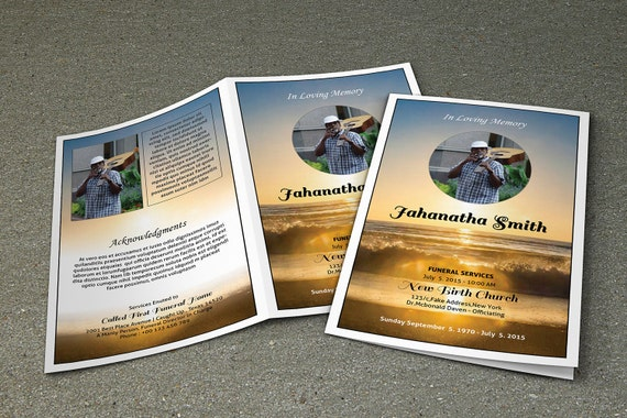 Funeral Program Template Obituary Template Photoshop & Ms