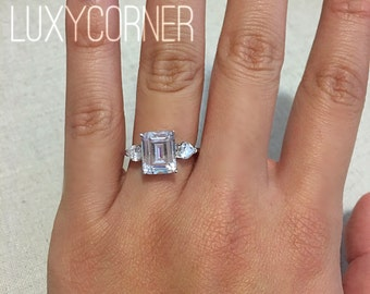 Engagement ring, Emerald cut, rectangle engagement ring, wedding ring, promise ring, simulated diamond, 3 carat center, flawless