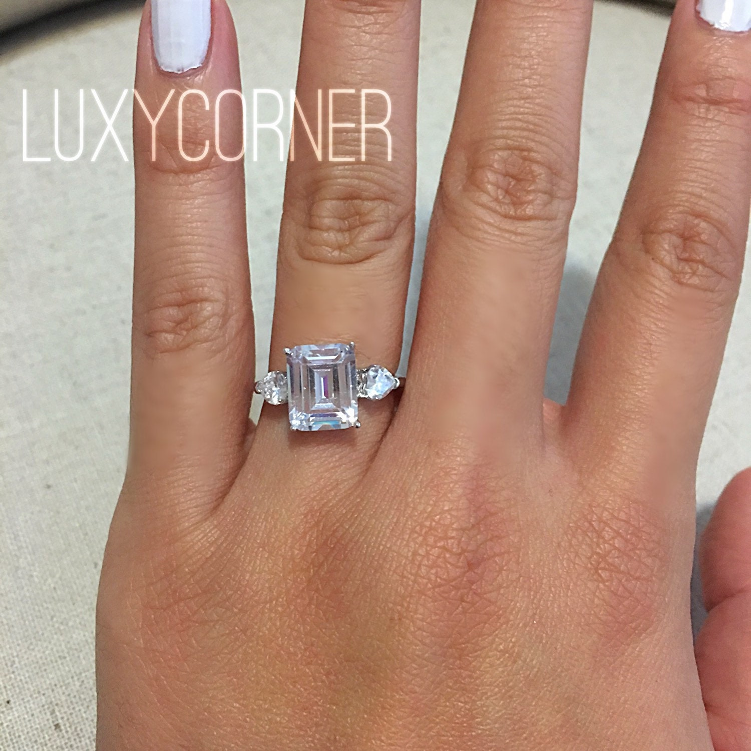 Engagement Ring, Emerald Cut, Rectangle Engagement Ring, Wedding Ring,  Promise Ring,