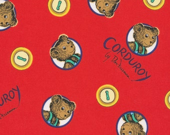 COTTON FABRIC Corduroy Bear with with Button in Red Organic Cotton. Sold by the 1/2 yard