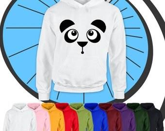 Childrens Funny Cute Panda Bear Face Hoodie - Kids Boys Girls Endangered Animal Lover Hooded Top Gift - Childs Present Gift Hood Pullover