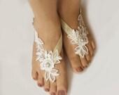 Light Ivory Beaded Lace  Wedding Barefoot Sandals, Bridal Foot Jewelry, Footless Sandal, Customizable Handmade-SD018