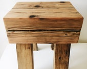 Reclaimed Wood Oak Beam End Table (Pair Available), Versatile Bar Stool, TV Stand Barn Wood Poplar Legs, Rustic Modern